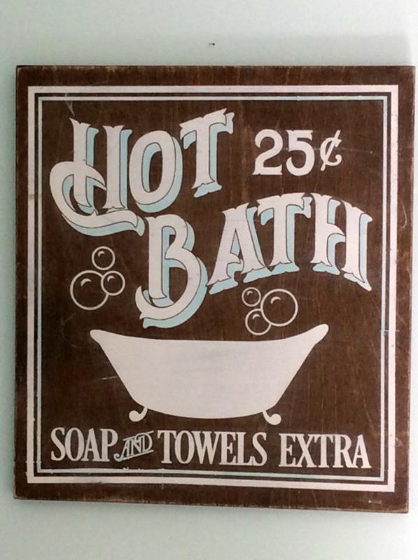 Hot Bath Soap Extra Vintage Inspired Bathroom Sign En