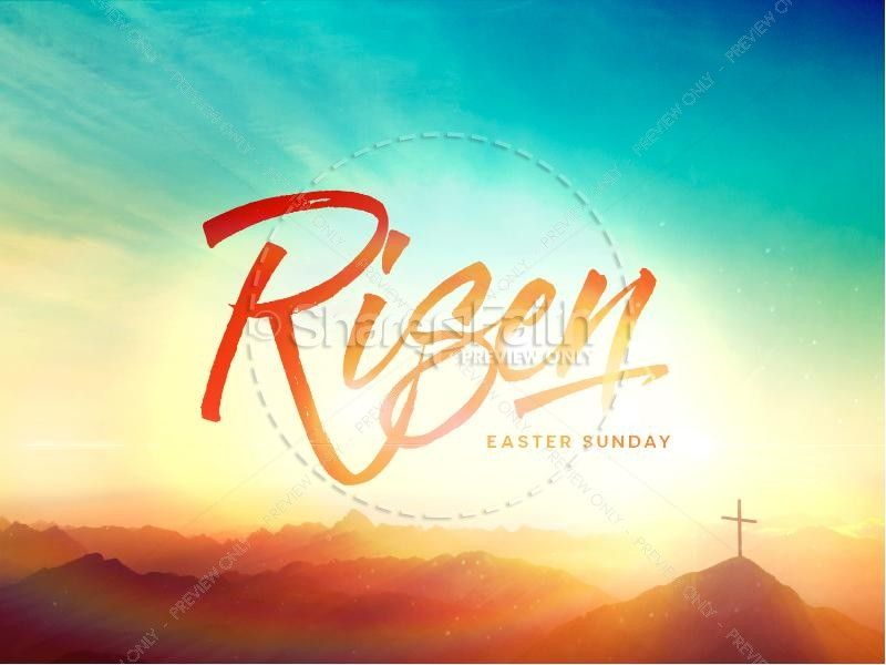 Risen Easter Sunday Church PowerPoint Graphic Ideas Pinterest - easter powerpoint template