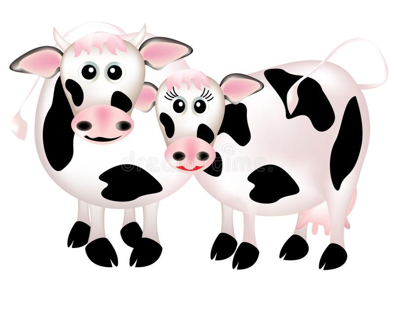 Two Cows In Love Cartoon Two Cows In Love On White Background Royalty Free Illustration Cow Cartoon Images Cow Cartoon