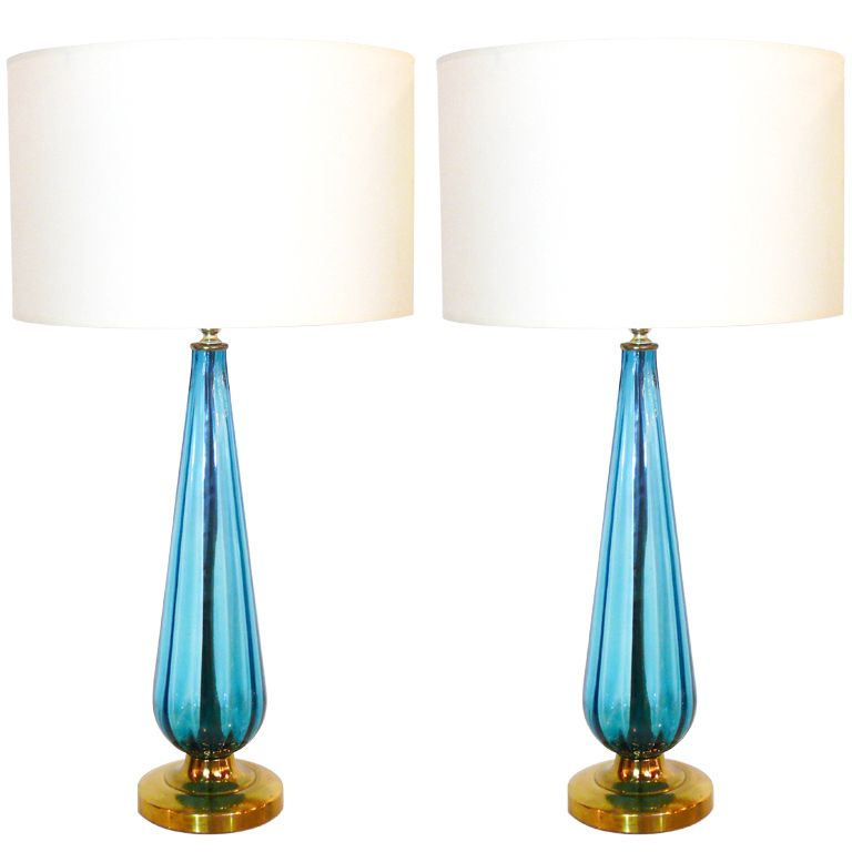 Pair Of Blue Italian Glass Table Lamps Italy 1960u0027s Pair Of Stunning Blue  Glass And Brass Lamps, From Italy, 1960u0027s Elegantly Tapered Glass Rests On  A ...