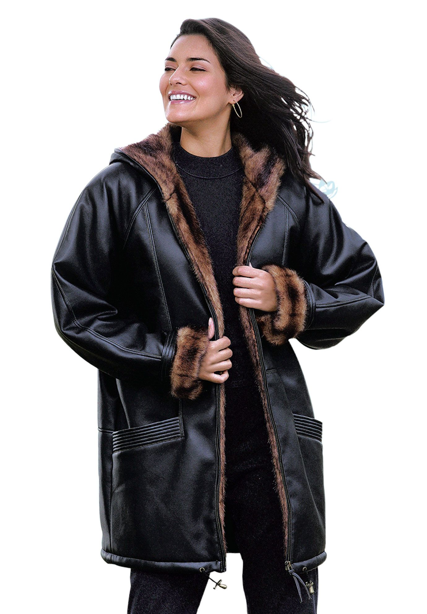 Jacket, hooded leatherlook with faux fur Plus Size Cold