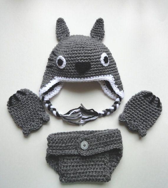 Totoro inspirado bebé sombrero mitones y pañal cover por scotako