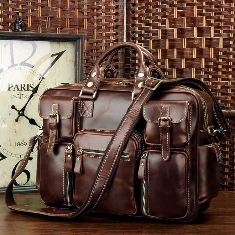 Vintage Leather Briefcase Handmade Genuine Dispatch Travel Bag Sac Cuir Homme Sac Cuir Sac Cuir Vintage