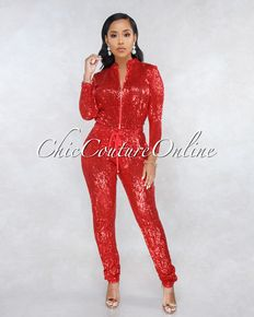 ec60a4fc0872 90210 Red Sequins Jogger Jumpsuit in 2019