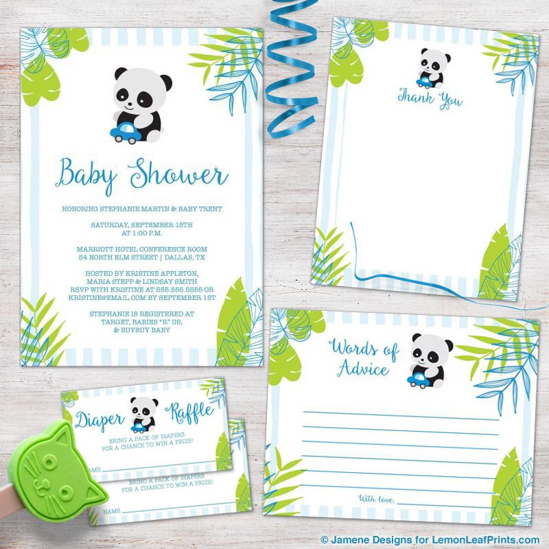 Tropical Panda Boy Baby Shower Invitation - Blue and Green | Panda ...