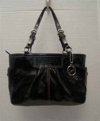 Coach Z25842 Z Black Patent Leather Pleated East West Gallery Tote Bag  Handbag  bdf9d7b89a499