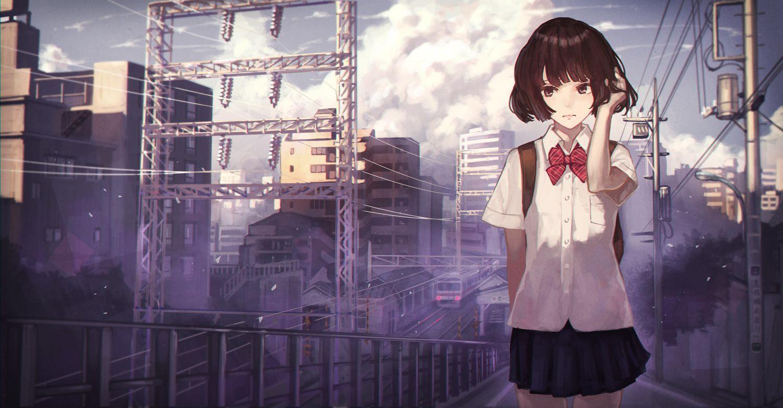 カオミン(Kaoming)... Anime school girl, Anime, Anime scenery