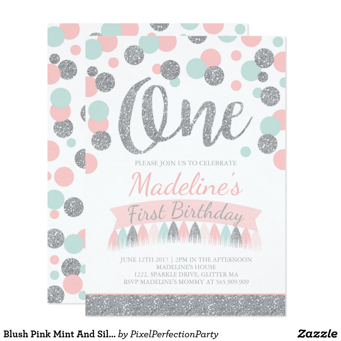 Blush Pink Mint And Silver 1st Birthday Invitation