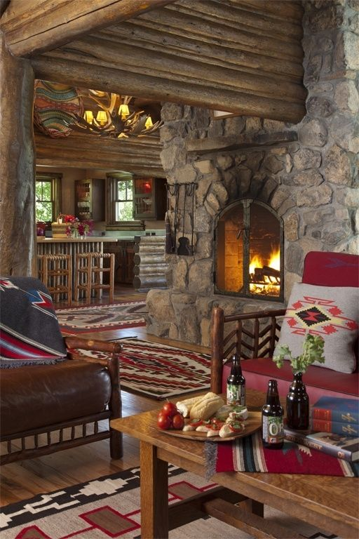 Cozy log cabin den home decor pinterest log cabins for Log cabin interiors modern