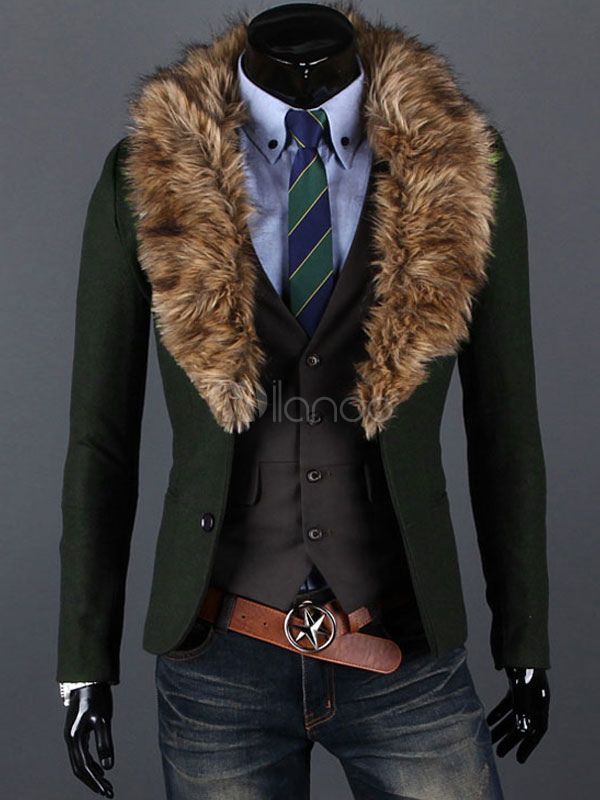 Regular Fit Suits with Removable Faux Fur Neck
