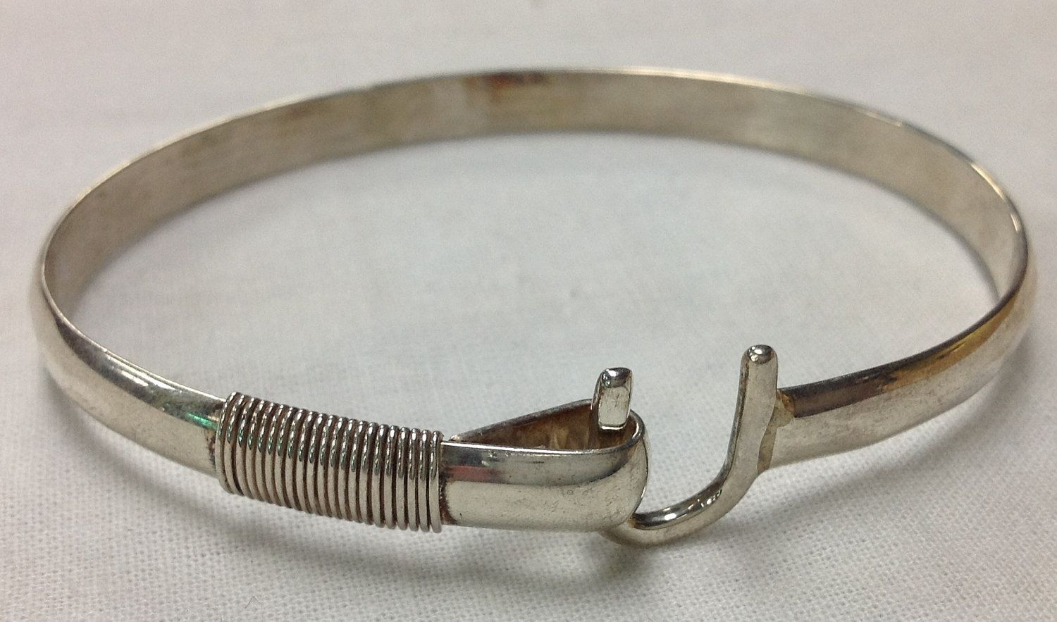 Sonya St Croix Island Carribean Sterling Silver Hammered Cuff Bangle Bracelet With Cool Hook Closure 68 00 Via Etsy