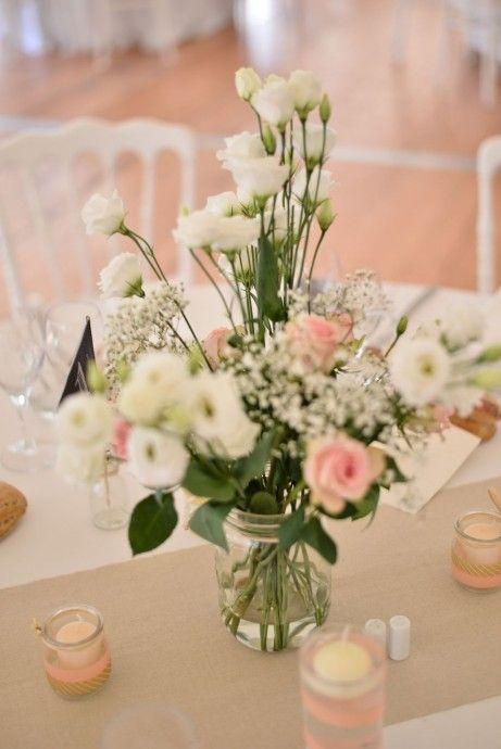 le mariage romantique aux couleurs p che et or d 39 aur lie et fred fleurs de table rustique et. Black Bedroom Furniture Sets. Home Design Ideas