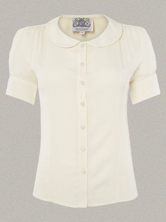 cd755799 1940s Blouses and Tops 40s Vintage Inspired Crepe De Chine Jive Blouse in  Cream $52.00 AT vintagedancer.com