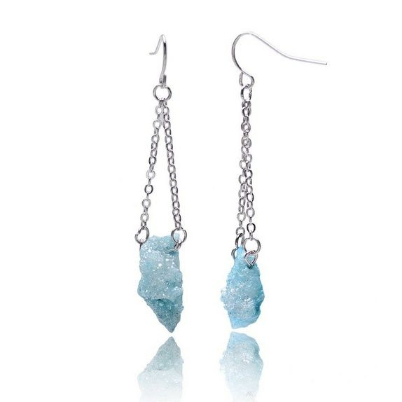 Blå krystall Agat og Rhodium