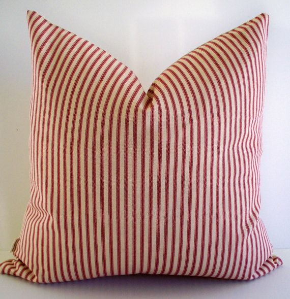 Red Ticking Pillow Farmhouse Cover Cream By Linenandoak