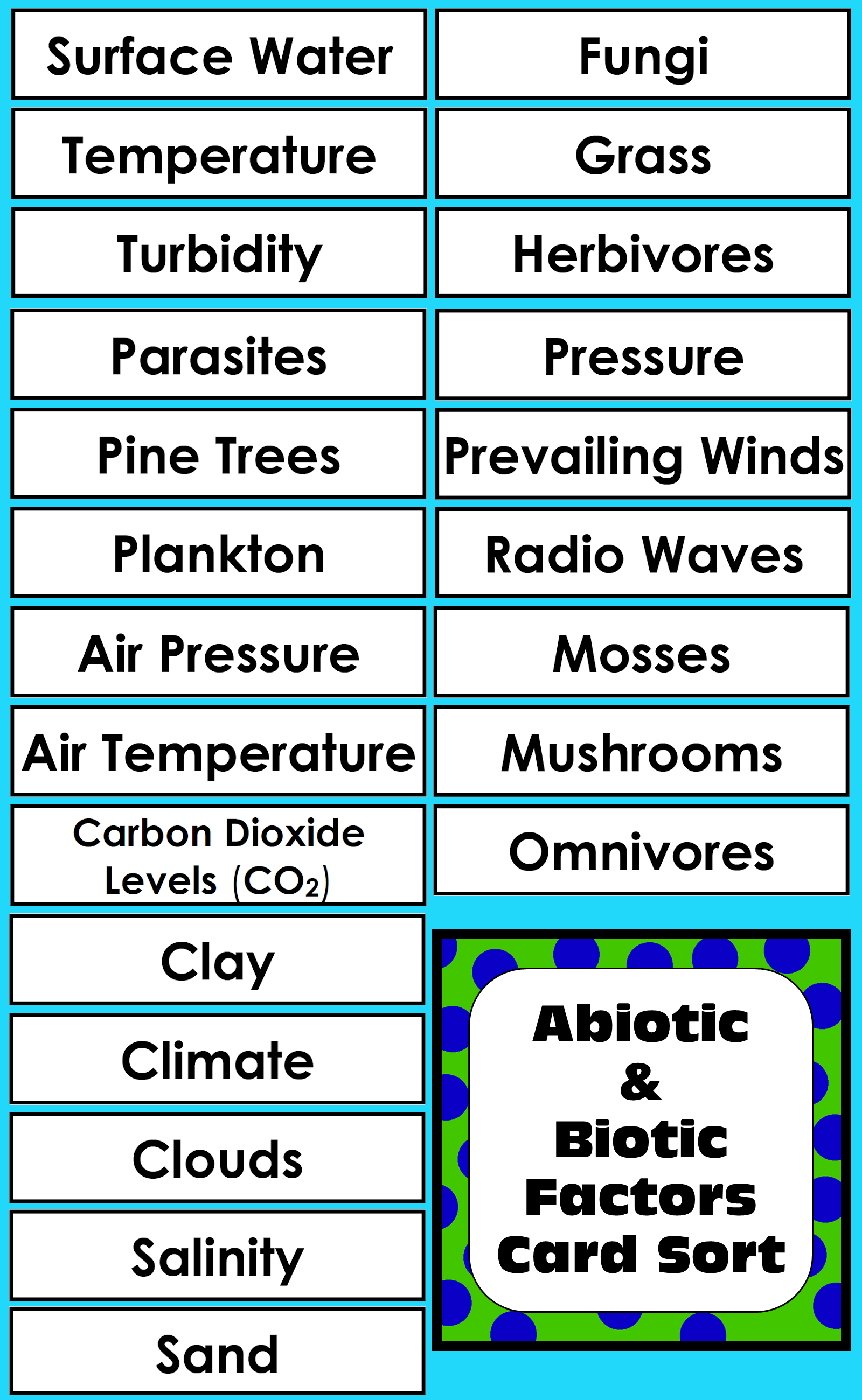 102 Abiotic And Biotic Factors For Students To Sort Great