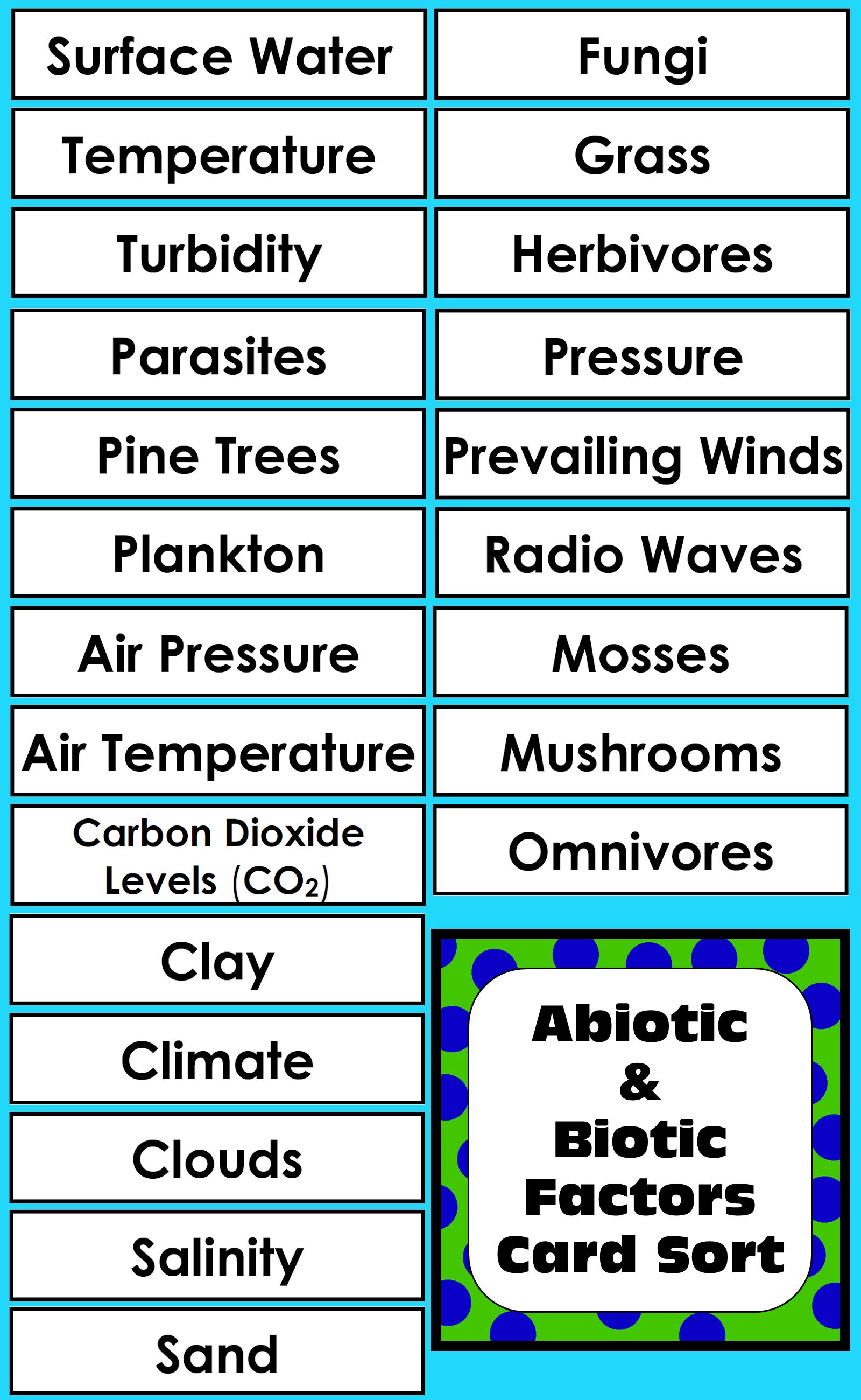 Abiotic Amp Biotic Factors Activity For Living Amp Non Living
