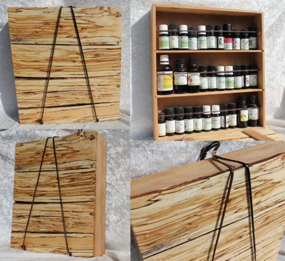 boite pour 33 flacons d 39 huiles essentielles coffret en bois de h tre et bouleau deco. Black Bedroom Furniture Sets. Home Design Ideas