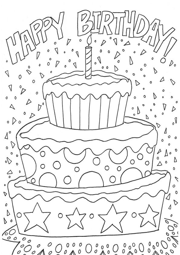 Happy Birthday Celebration Coloring Pages   Alles gute zum ...