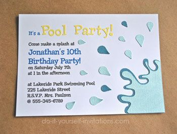 Diy Pool Party Invitations Like The Water Effect