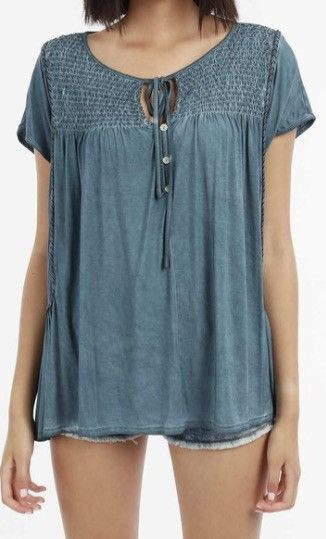 Smock Front Top with Tied Collar