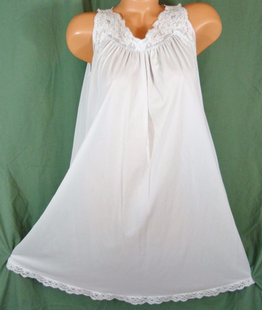 Shadowline Silhouette Small Medium Nightgown Light Blue Lace ...
