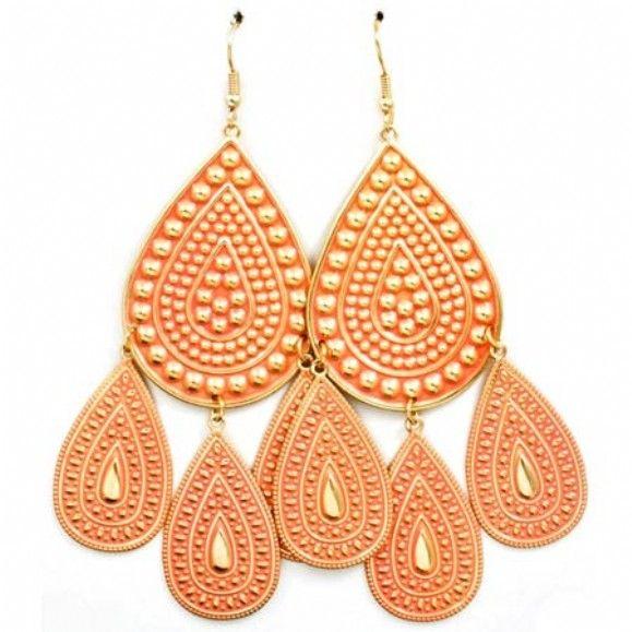Shannans Large Peach Metal Teardrop Chandelier Earrings As Seen On New York Live Only