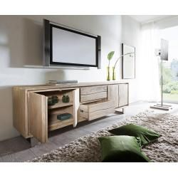 Photo of Delife Lowboard Live-Edge 200 cm acacia champagne 4 doors 2 drawers, TV tables, tree edge furniture,