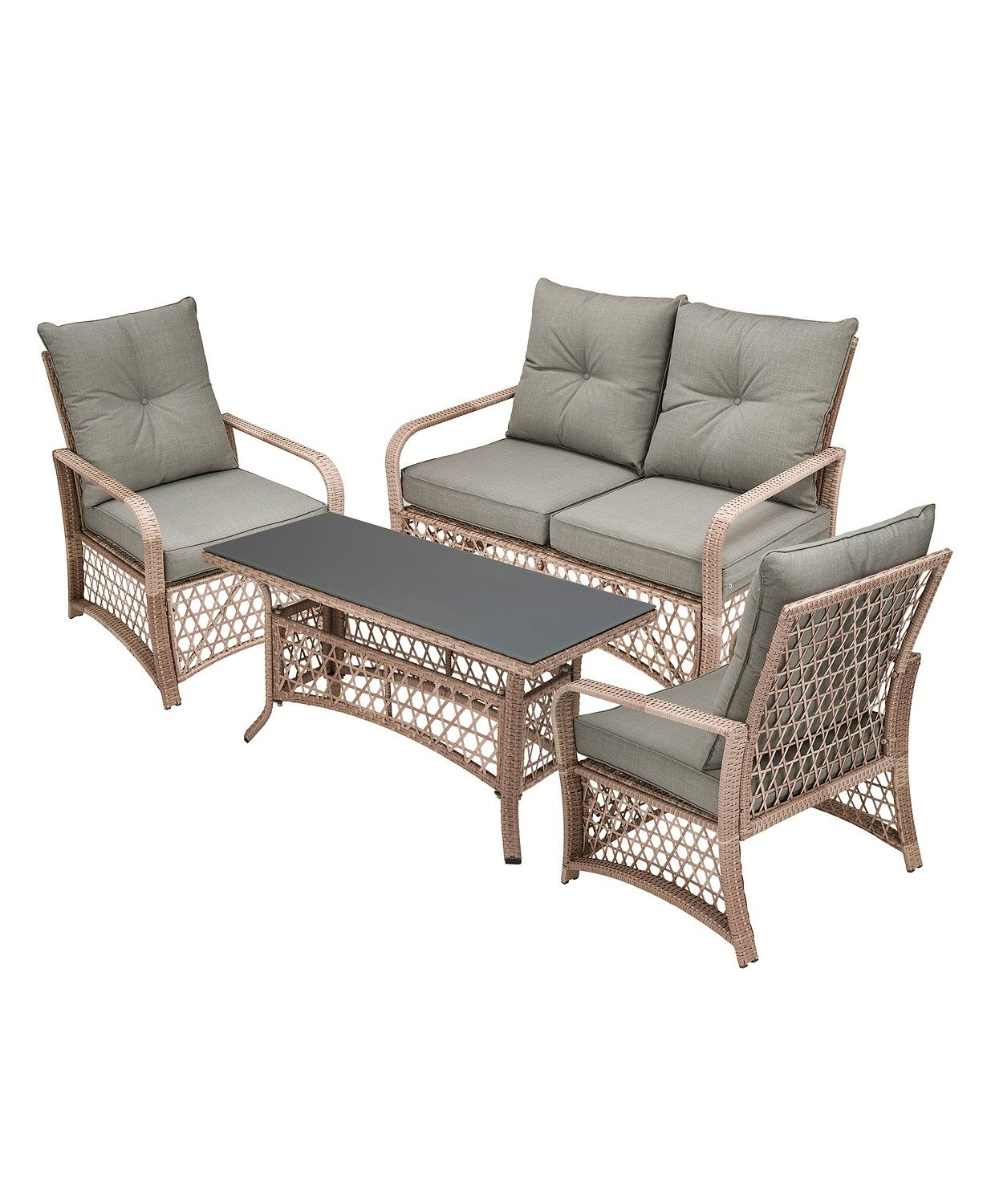 4 piece wicker patio set on glitzhome 4 piece outdoor patio wicker chair set reviews furniture macy s conversation set patio outdoor deck furniture patio furniture sets pinterest