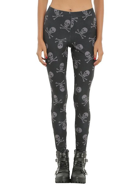764884f78dc92 Blackheart Black & Grey Skull & Crossbones Leggings | Danielle's ...