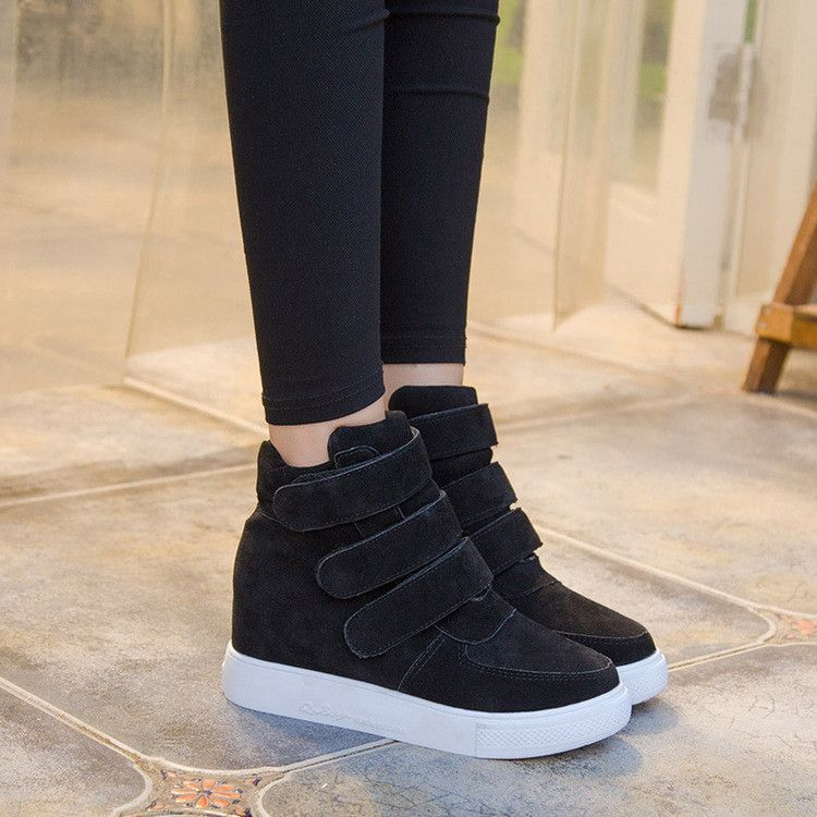 Simple Fashion Increased Velcro Ankle Boots #shoeboots