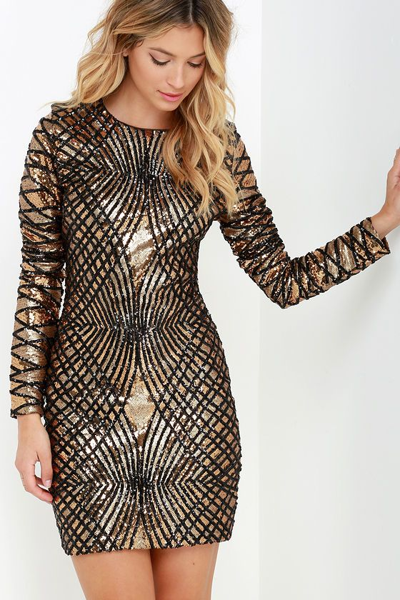 Truth or Dare Black and Gold Long Sleeve Sequin Dress | Sleeve ...