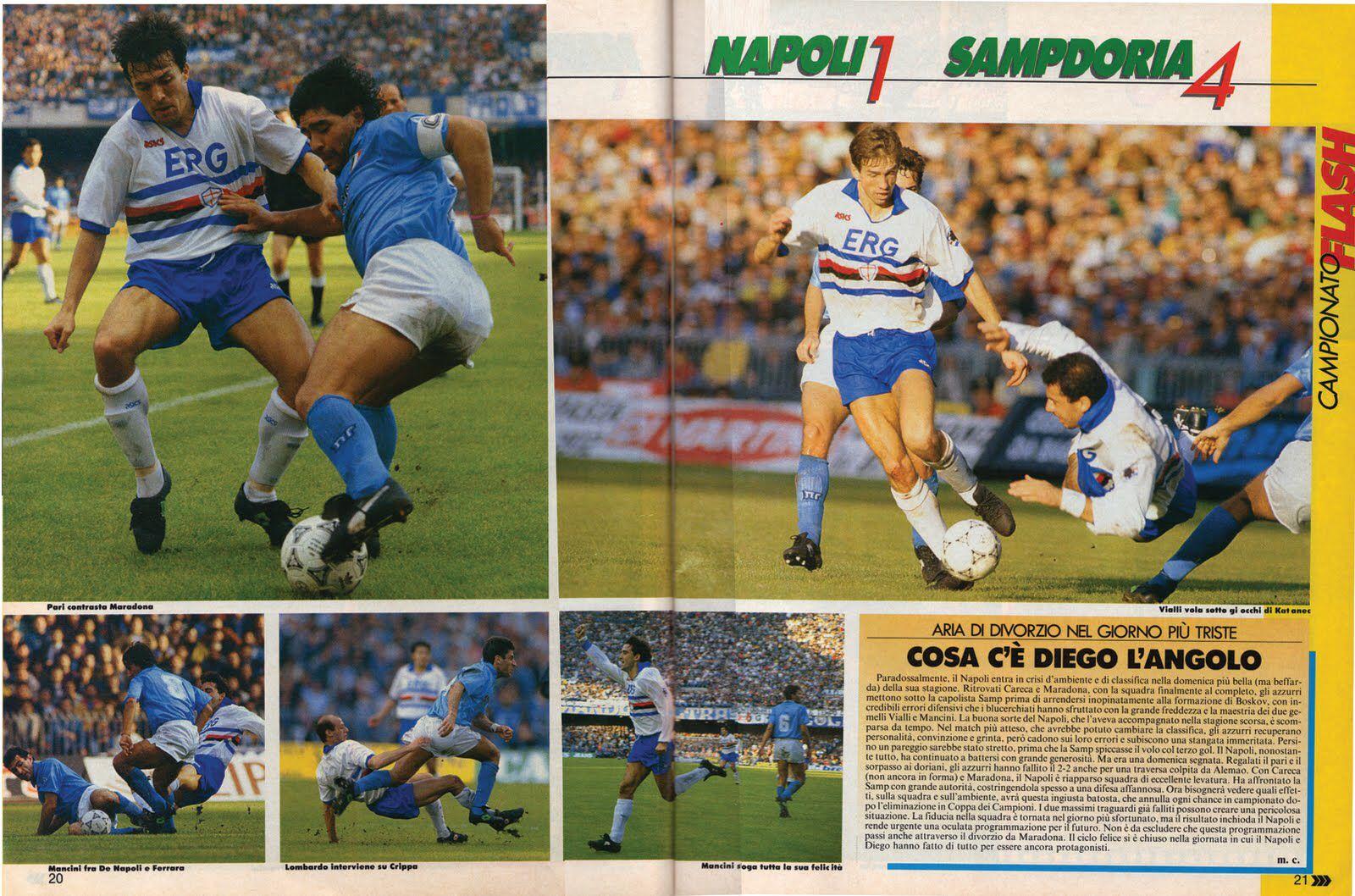 Napoli 1 Sampdoria 4 In Nov 1990 At Stadio San Paolo Action From Serie A And A Brilliant Result For Sampdoria Baseball Cards San