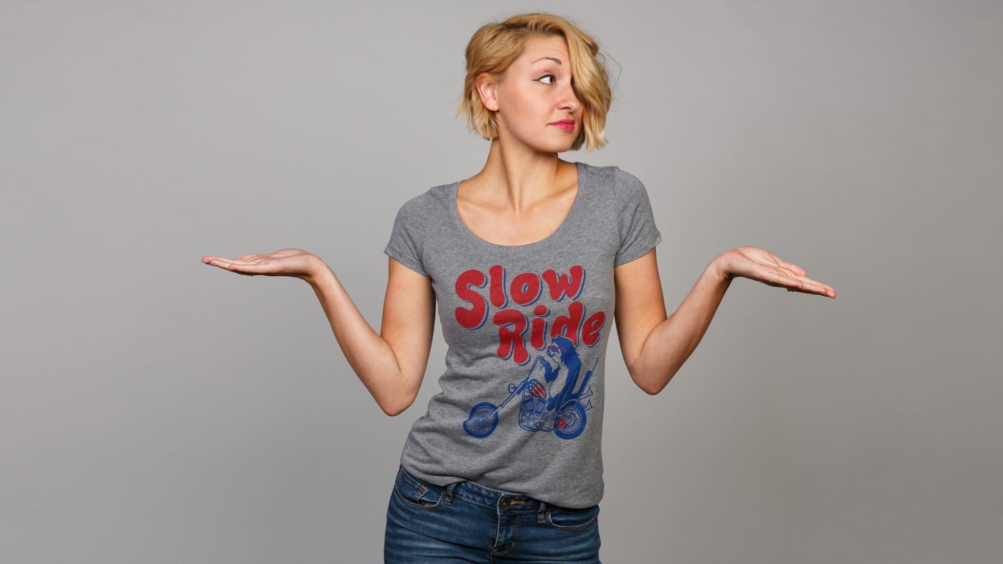 Whoa, whoa, whoa there. Let's pump the brakes a bit, shall we? What's the big hurry? Anyone ever tell you to stop and smell the roses?Slowing down is an art form and a way of life. So, take a queue from the noble sloth and SLOW THE 'F' DOWN!This athletic gray tee was slowly constructed of a 50/50 cotton/poly blend and goes great on the back of a sweet chopper.How Does It FitSlimfit, size up for extra comfort.Take Care of Your ShitMachine wash cold, inside out, with like colors. Tumb...