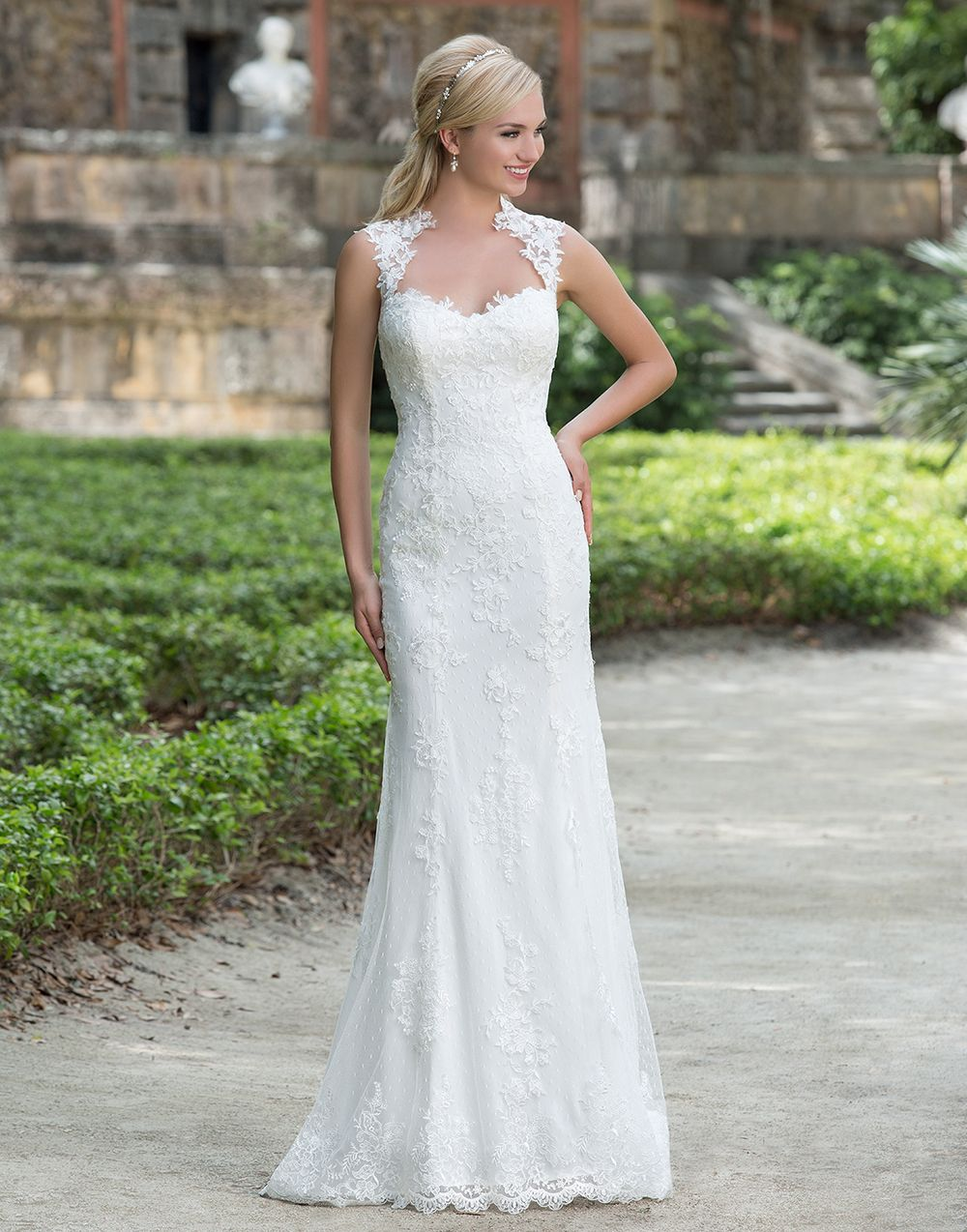 feeedc22d26f Sincerity wedding dress style 3885 A Queen Anne neckline accents this point  d'esprit and intricate lace straight gown. Finished hem lace and stretch  Jersey ...
