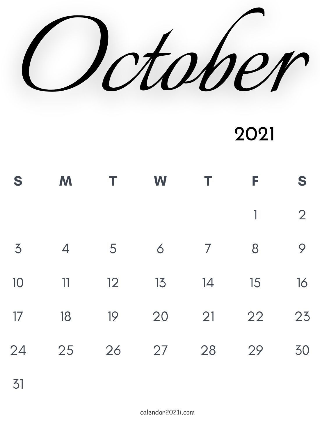 October 2021 Calligraphy Calendar Free Download In 2020 Monthly Calendar Printable Calligraphy Calendar Template Printable