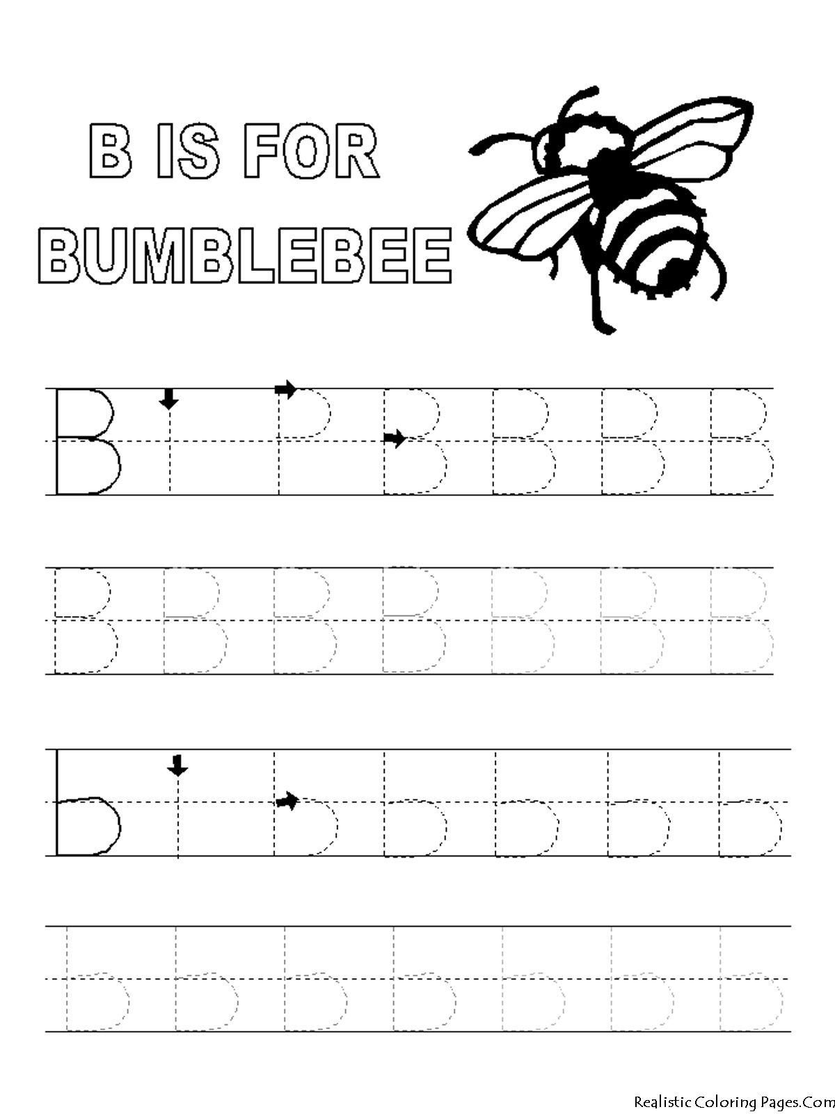 Alphabet Tracer Pages B For Bumblebee