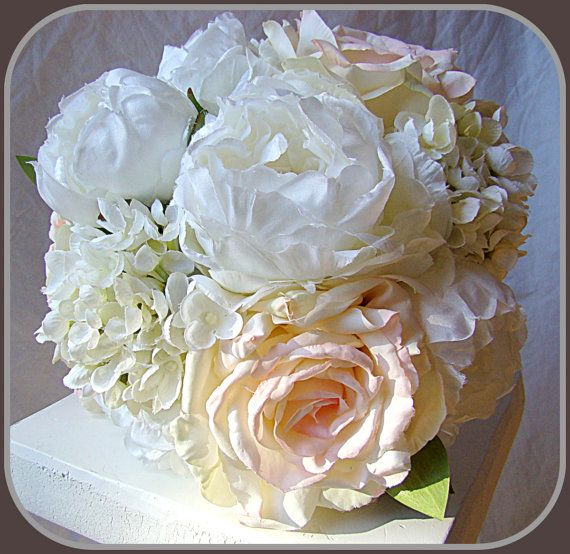 wedding bouquet blush white peony roses hydrangea garden wedding - Garden Rose And Hydrangea Bouquet