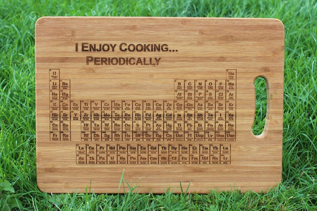 Periodic table of elements i enjoy cooking periodically periodic table of elements i enjoy cooking periodically personalised chopping board gift tag chemistry science teacher cutting by chompboardsuk on urtaz Image collections