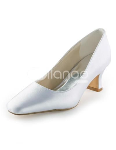 Elegant White Satin Square Toe Bridal Shoes. See More Bridal Shoes at http://www.ourgreatshop.com/Bridal-Shoes-C919.aspx