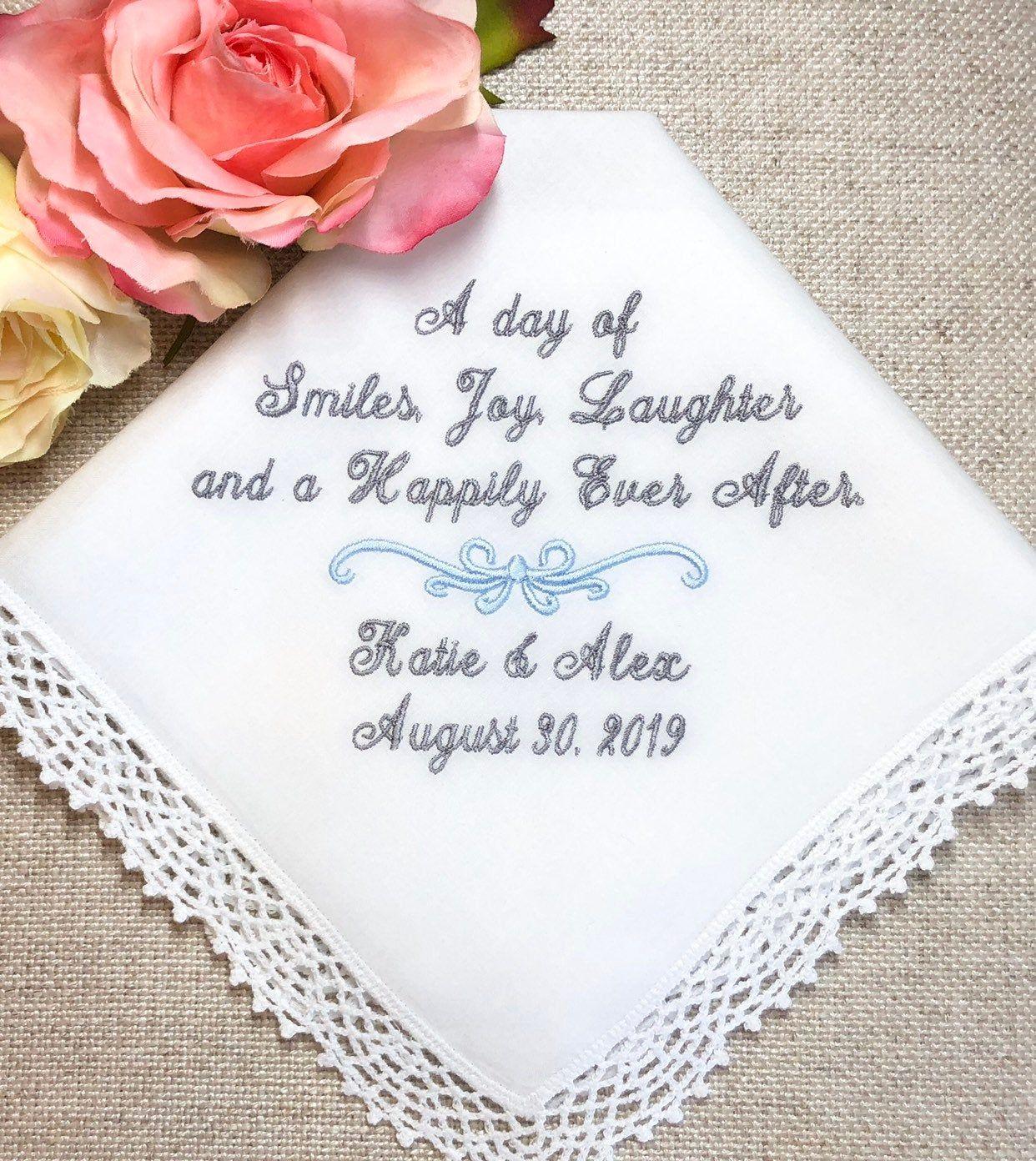 Something Blue Gift For Bride Brides Wedding Handkerchief Etsy In 2020 Wedding Hankerchief Bride Gifts Wedding Handkerchief