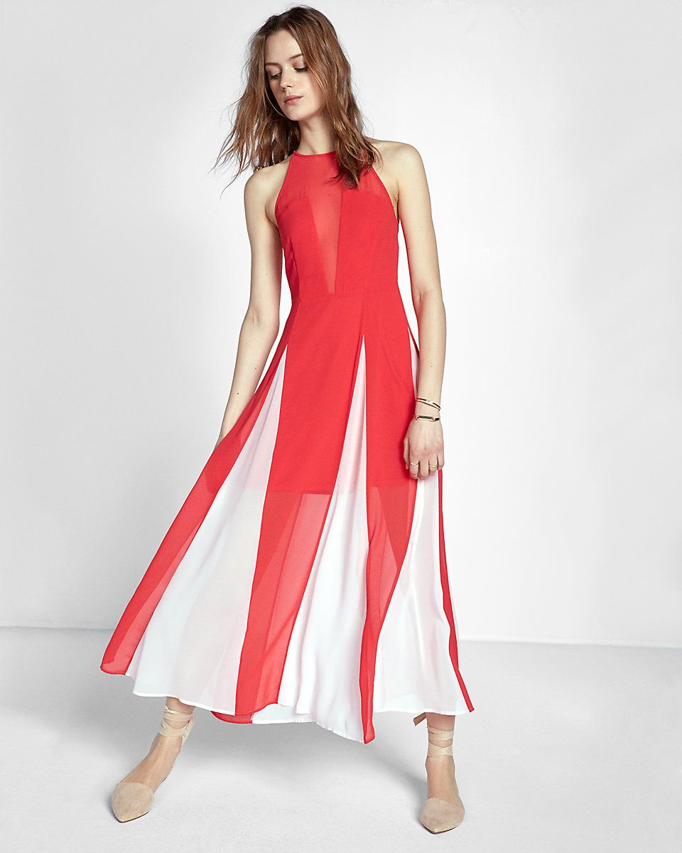 High neck godet sleeveless maxi dress red womenus maxi dresses