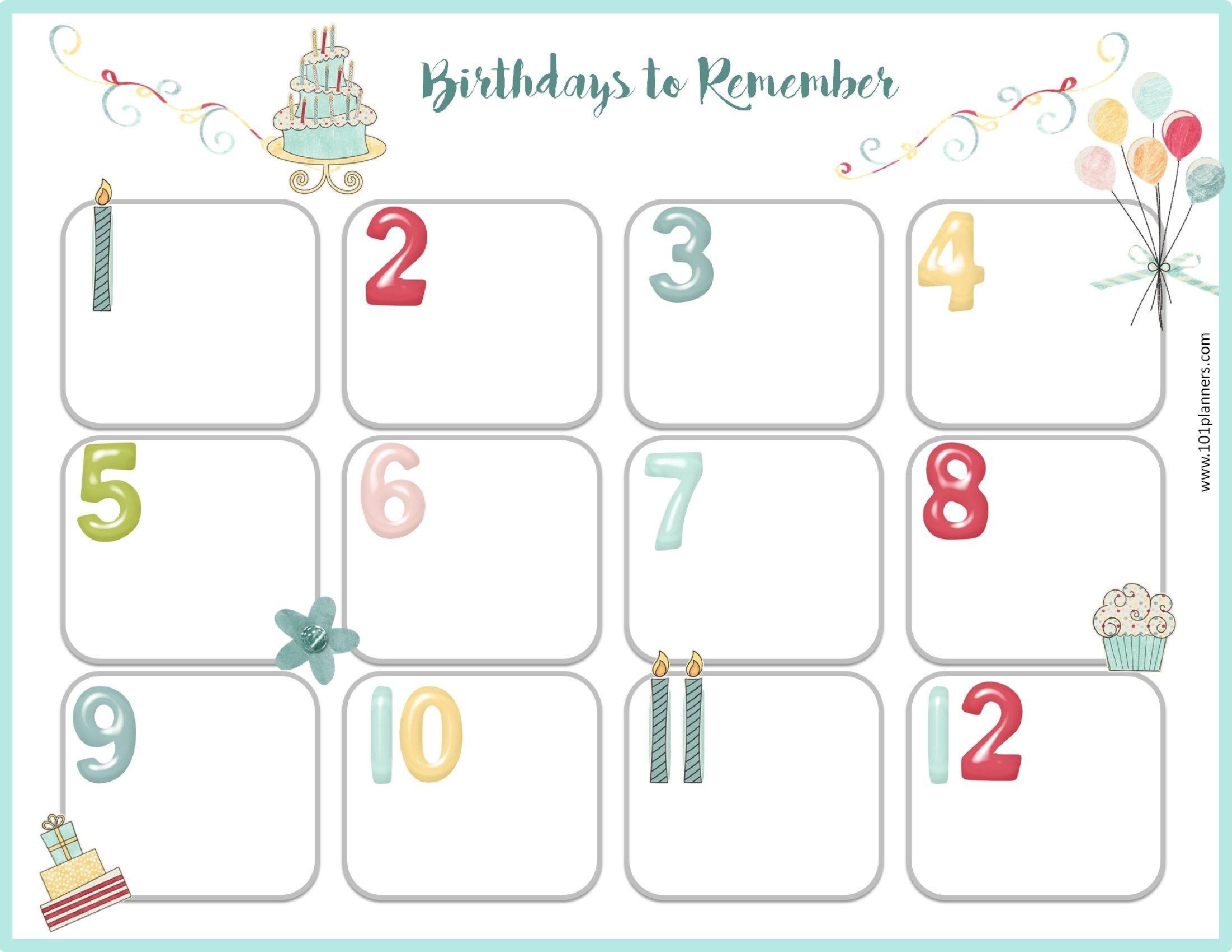 Free Birthday Calendar Beautiful Calendars Templates In Birthday