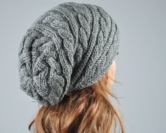 Hand knit hat woman men unisex Charcoal hat slouchy hat cable beret ...