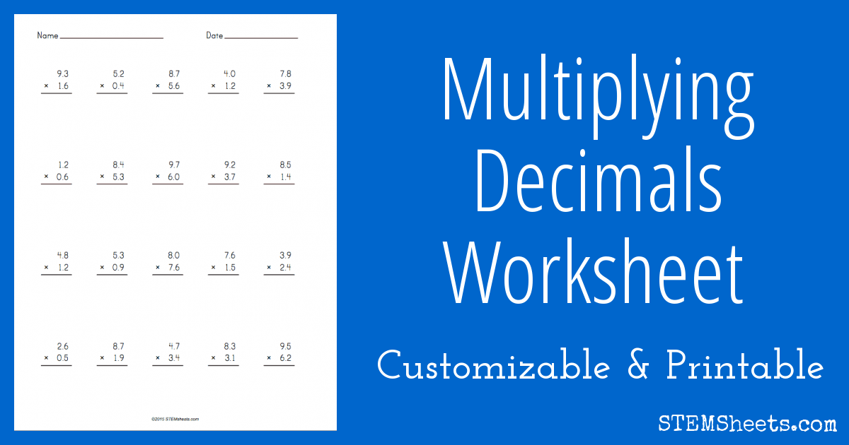 Customizable And Printable Multiplying Decimals Worksheet With Up