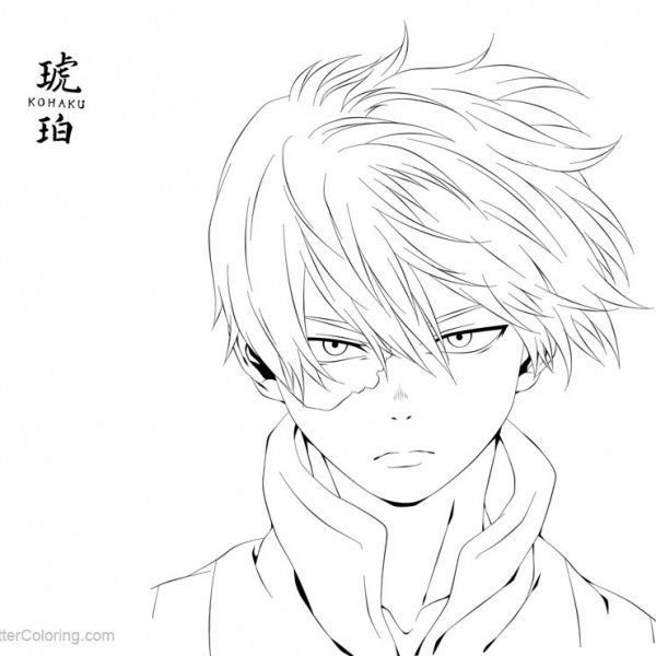 Boku No Hero Academia Coloring Pages Todoroki Lineart by justaweirdgirl - Free Printable Coloring Pages