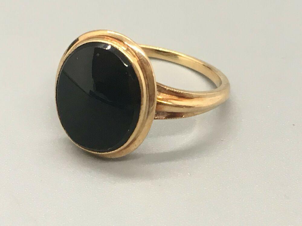 Classic Vintage Bda Black Onyx Ring Set In 10k Yellow Gold No Reserve Bda Black Onyx Ring Set Black Onyx Ring Rings For Men