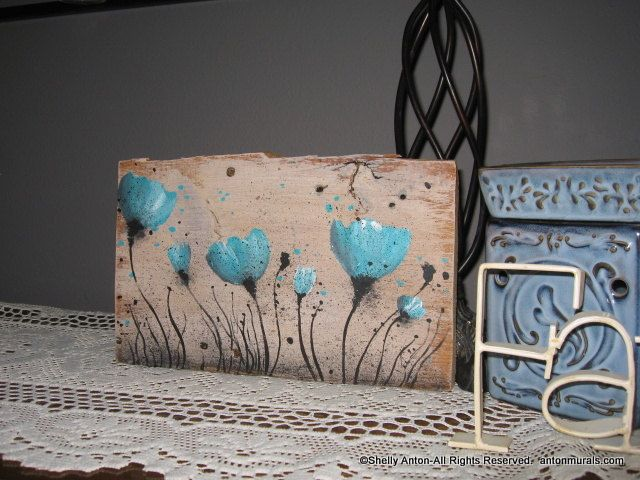 Poppies Picture Hand Painted Turquoise Canvas Primitive