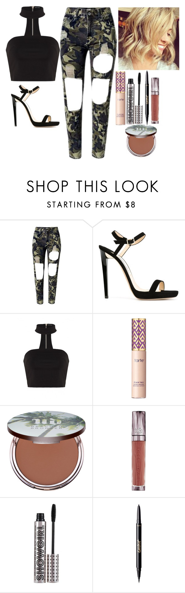 """""""Untitled #6567"""" by kimboloveniallhoran ❤ liked on Polyvore featuring Jimmy Choo, tarte, Urban Decay and Barry M"""