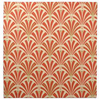 Mandarin Orange Art Deco Fan Pattern.